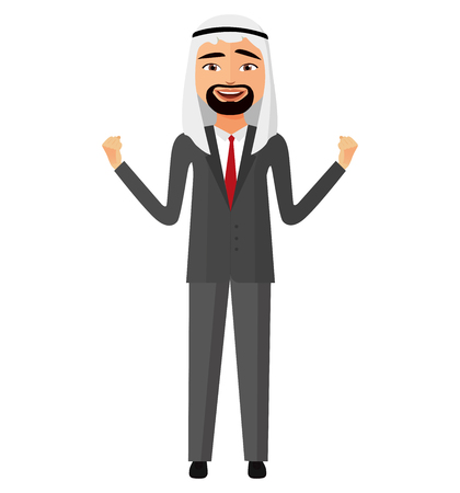 Admiring extremely excited arab iran saudi business man in traditional clothing flat cartoon vector Illustration