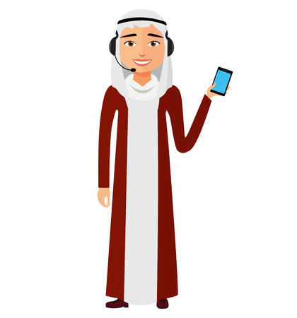 Arab customer service call center operator with microphone on duty. Iran man customer service vector illustration.