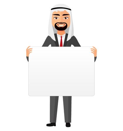 Saudi arab businessman holding white blank poster cartoon vector illustration. Illustration