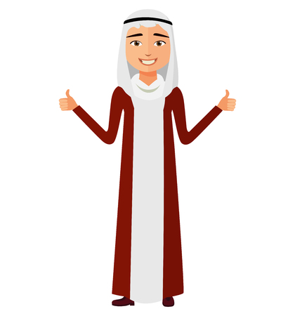 Glad arab saudi business man showing thumb up vector flat cartoon illustration