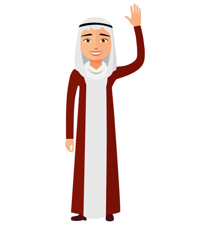Cheerful young arab business man waving her hand vector flat cartoon illustration.