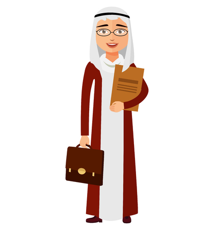 Arab yemen businessman with glasses and briefcase vector flat cartoon illustration. Illustration