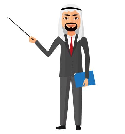 Saudi iran arab business man with a pointer flat cartoon vector illustration. Illustration