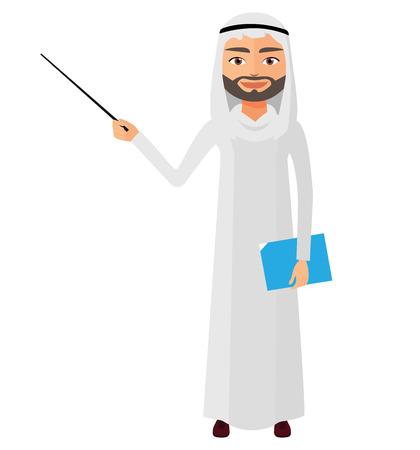 Saudi iran business man or teacher with a pointer flat cartoon vector illustration.