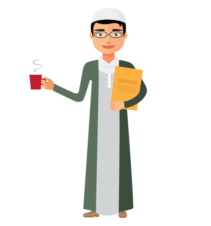 Saudi arab businessman with a cup of tea and teapot vector flat cartoon illustration.