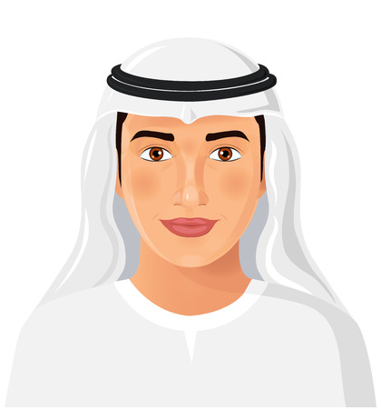 Beautiful young saudi arab man in traditional muslim hat isolated face avatar portrait vector Illustration
