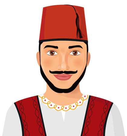Turkish man avatar sultan in national suit cartoon character vector Illustration  isolated Ilustração