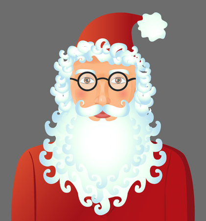 Santa Claus cartoon flat with spectacled isolated on background vector Illustration. Christmas. New year