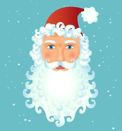 Santa Claus face modern avatar isolated on christmas background vector Illustration. Christmas. New year
