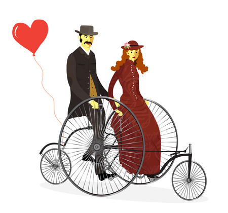 Loving couple riding on a bicycle isolated vector illustration