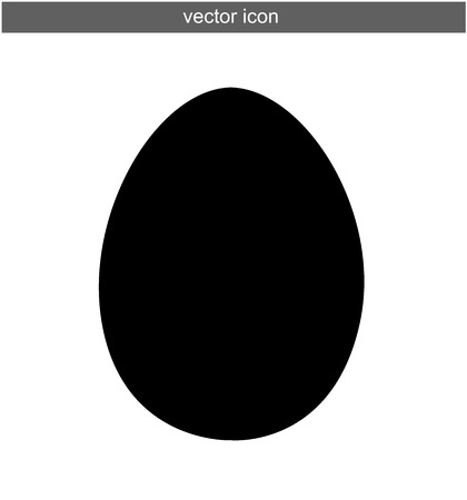 Egg silhouette vector icon isolated on white Çizim