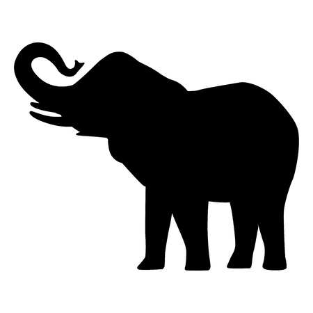 Elephant cartoon silhouette icon forest elephant  asian elephant african bush with large ears vector illustration isolated on white Stock Illustratie