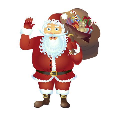 Santa Claus cartoon waving her hand cartoon character - isolated on white vector Illustration
