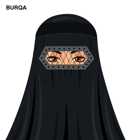 Vector burqa style, beautiful arabic muslim woman in burqa - Illustration isolated icon avatar Illustration
