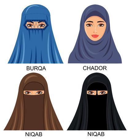 伝統的なヘッドスカーフでアラビアのイスラム教徒の女性 - イラスト分離アイコン