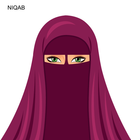 Black niqab style, beautiful arabic muslim woman - Illustration isolated.