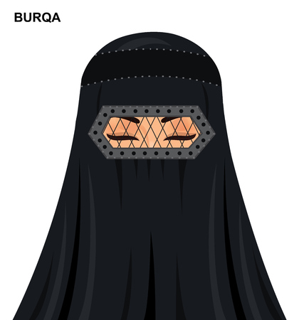Vector burqa style, beautiful arabic muslim woman in burqa - Illustration isolated icon avatar
