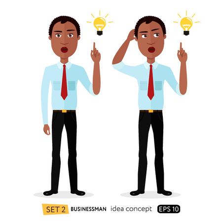 Homem de negócios americano africano dos desenhos animados obter um vetor plana de idéia isolado no conceito branco
