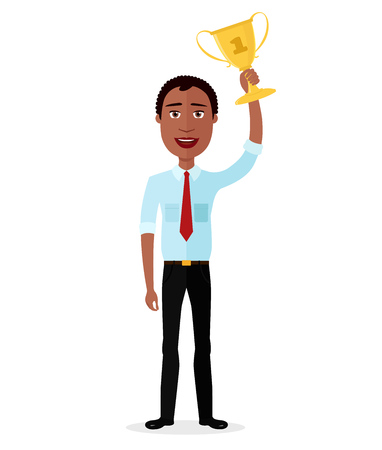 Businessman African winner success concept character vector excited cartoon male raising up trophy isolated on white background. Illustration