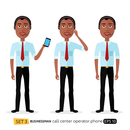 African American male call center operator wearing headset and holds phone flat modern style isolated on white background.
