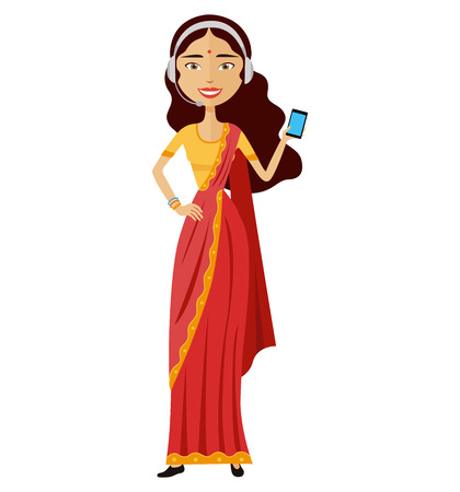 Indian woman operator avatar customer call center concept vector illustration isolated
