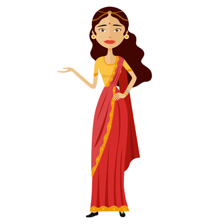 Indian woman presents something vector flat cartoon illustration isolated