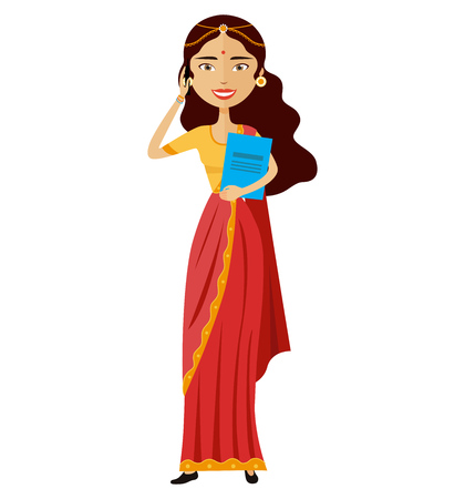 Indian business woman talking the phone flat cartoon vector illustration isolated