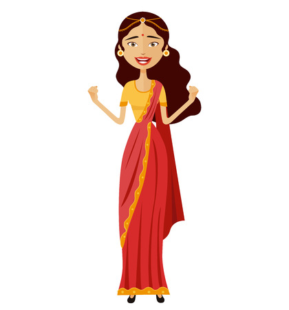 Happy admiration indian woman throwing up her hands vector isolated on white background