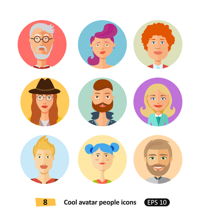 Set of cool avatars flat icons different clothes,tones and hair styles modern and simple flat cartoon style for app