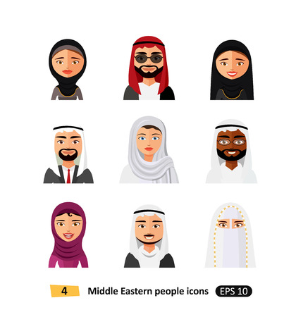 Different middle eastern people avatar set vector flat icons arab users isolated