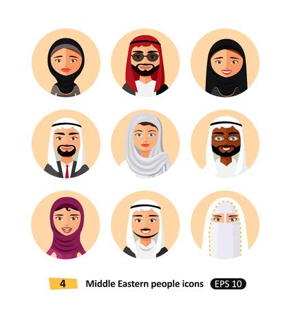 Vector middle eastern arab people avatars flat Icons symbol