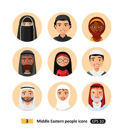Vector middle eastern aran muslim people Icons avatar user
