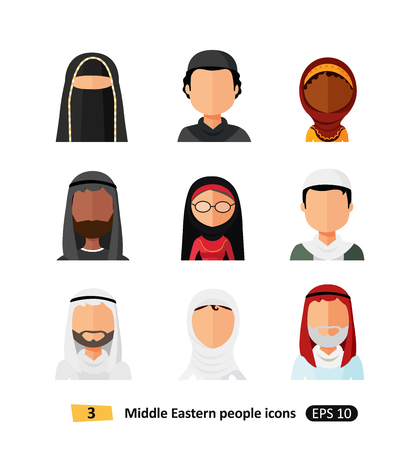 Muslim arab people avatars icons set in flat style isolated on white different arabic ethnic man and woman users faces in traditional clothing Illustration