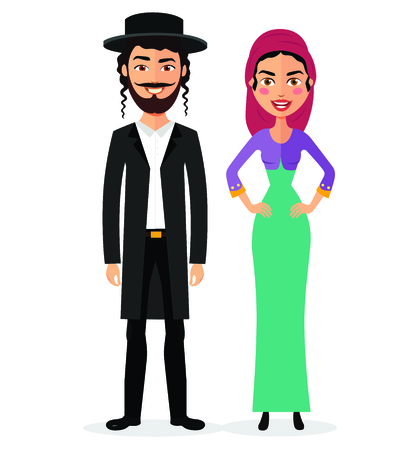 Jewish couple traditional clothes hasid rabbi rabbin national vector illustration mother, father isolated