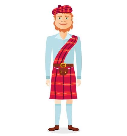 Scottish man in kilt in national clothes flat cartoon vector illustration isolated on white background Illusztráció