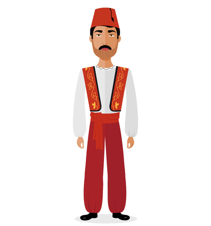 Turkish couple man in traditional clothes isolated jn white vector illustration eps 10 Vecteurs