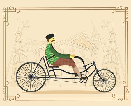 Frenchman on retro vintage old bike on old city background. Vector illustration
