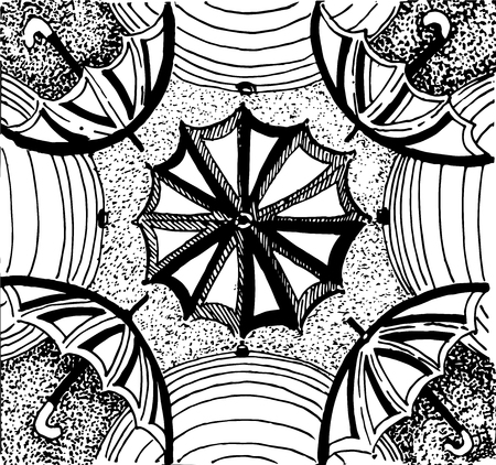 Stylized patterned umbrellas background vector season decoration isolated drawings hand-drawn