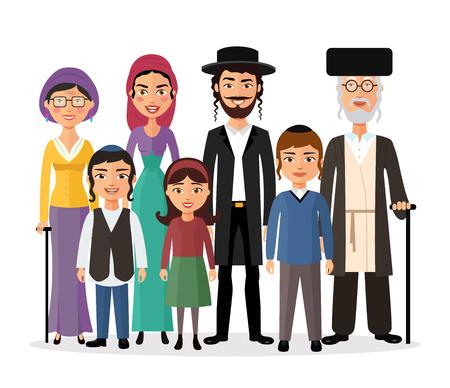 Felice famiglia ebrea insieme fumetto concetto illustrazione vettoriale isolato su bianco Vettoriali