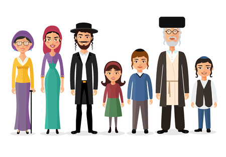 Happy jewish family together cartoon concept vector illustration isolated on white