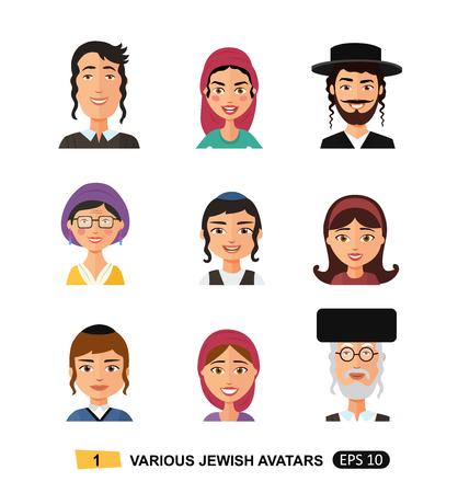 Jewish people icon flat cartoon concept vector isolated on white Vektorové ilustrace