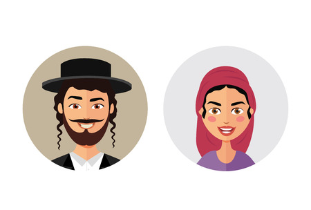 Jewish man and woman avatars users icon people flat cartoon vector isolated on white