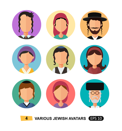Jewish people icon avatars flat cartoon concept vector isolated on white in national clothes users icons