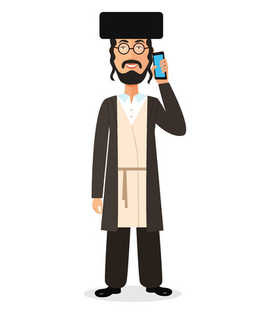 Jewish flat man talking on the phone vector flat isolated on white