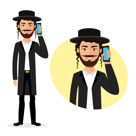 Jewish happy man talking on the phone vector flat isolated on white