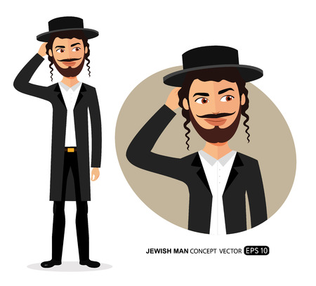 Jewish man is pensive thinking get an idea concept cartoon vector isolated  イラスト・ベクター素材
