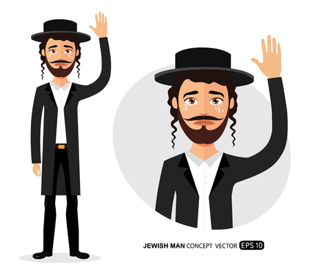 Crying Jewish business man waving hand goodbye cartoon vector isolated on white