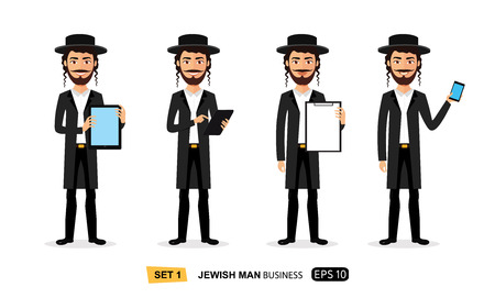 Jewish business cartoon man standing with tablet concept flat vector isolated on white Illusztráció