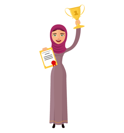 Arab excited woman raising up trophy certificate businesswoman winner success concept vector isolated on white background