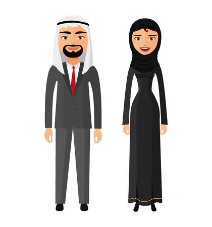 Arabska para mężczyzna i kobieta razem w tradycyjne stroje narodowe ubierają wektor kostium na białym tle